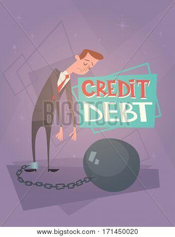 Business Man Chain Bound Legs Credit Debt Finance Crisis Concept Flat Vector Illustration