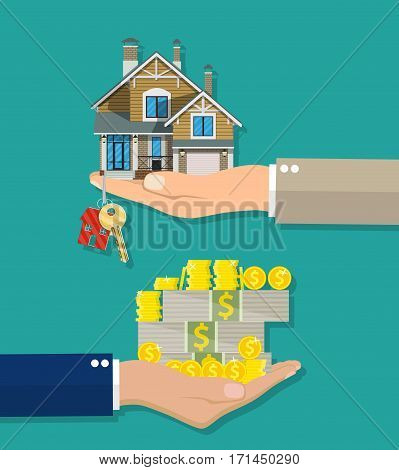 Hands with money and coins stacks and house with keys. Real estate concept. Vector illustration in flat style