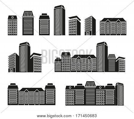 Isolated black and white color skyscrapers and low rise houses in lineart style icons collection, cityscape of architectural buildings vector illustrations set