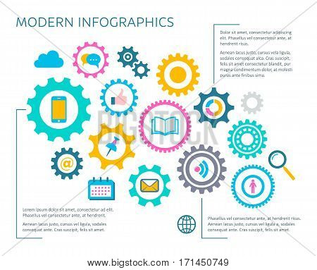 Modern vector infographic design template with multimedia icons