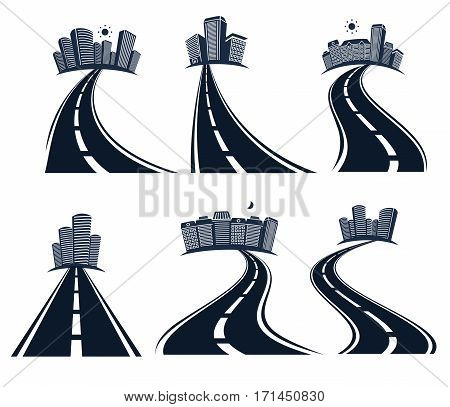 Isolated highway road with dividing marking and cityscape icons collection vector illustration