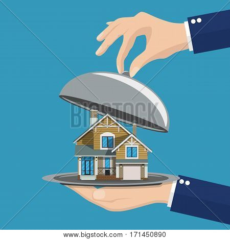 Hand opens serve cloche with house inside. present concept. vector illustration in flat design