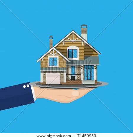 hand holding house. Buying or selling a house, real estate. vector illustration in flat style