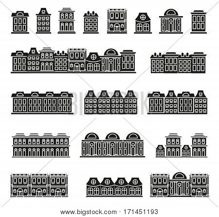 Isolated black and white color low-rise municipal houses in lineart style icons collection, elements of urban architectural buildings vector illustrations set