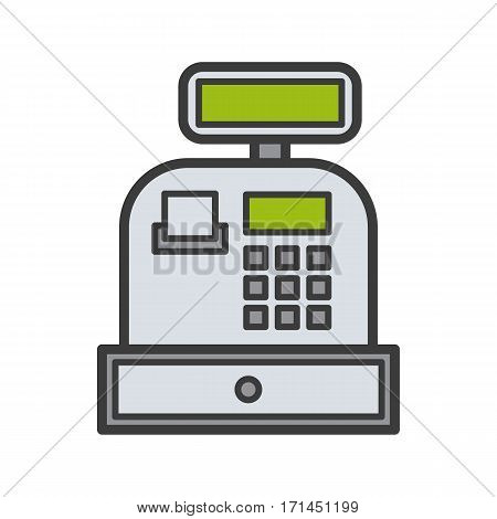 Cash register color icon. Isolated vector illustration on white background