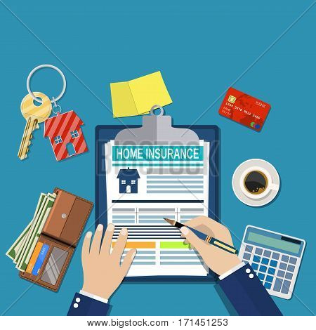 home insurance form concept. house keys, house, calculator, clipboard and money. Man signs a legal document house insurance. Vector illustration in flat style.