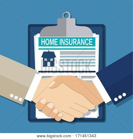 Insurance concept handshake. Safety, insurance, risk concept. Vector illustration in flat style
