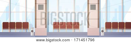 Airport Waiting Hall Departure Terminal Interior Check In Flat Vector Illustration