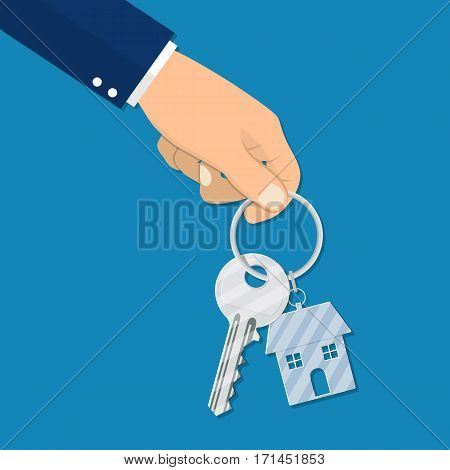 hand holds the key from the home. Template for sale, rent home. rent house, concept. Vector illustration flat design.