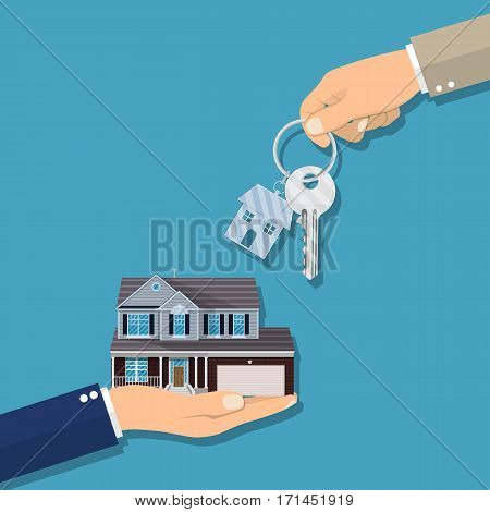 Real estate concept. Businessman hands giving key for house, successful investment concept. vector illustration in flat style