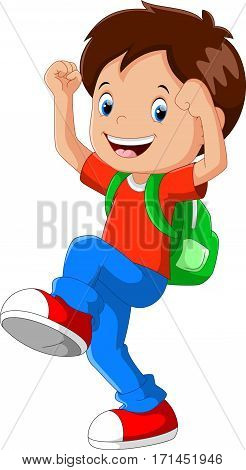 Vector illustration of happy boy with backpack going to school