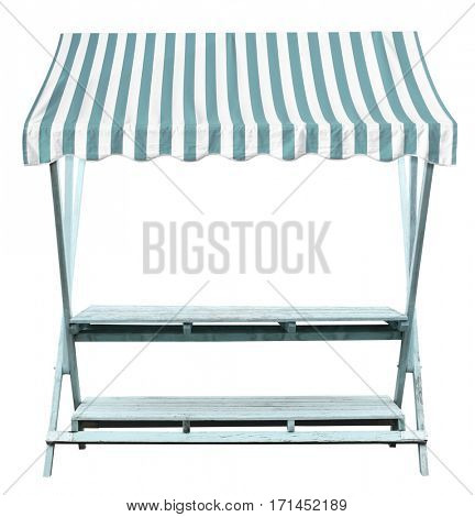 Wooden market stand stall with blue white striped awning