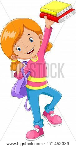 Cute schoolgirl with a books in his hands