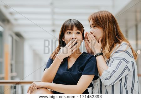 Young Asian girl whispering gossip or secret to her friend with surprise face