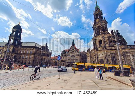 DRESDEN GERMANY - JUNE 7 2012: Dresden city center - Old Town a residence of kings of Saxony Dresden Castle Residenzschloss Hofkirche. Germany