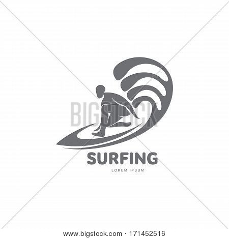 Black and white graphic surfing logo template with surfer silhouette, surfboard and wave, vector illustration isolated on white background. Graphic surfing board logotype, logo design