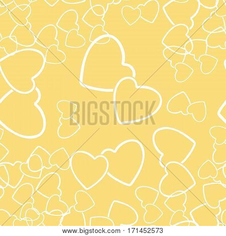 Two hearts seamless pattern. White pairs of heart symbols randomly placed on yellow background. Stylized texture for Valentine day gift wrap or greeting card design. Vector eps8 illustration.