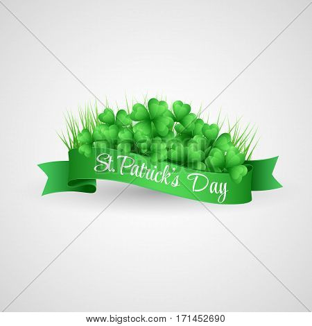 Vector illustration Saint Patrick Day Banner with clover
