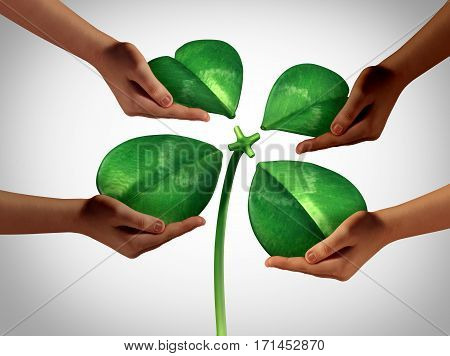 Together creating fortune as a group of diversity hands holding four detached green petals of a lucky clover being attached to a central stem as a saint patrick holiday social gathering or a business cooperation symbol with 3D illustration elements.