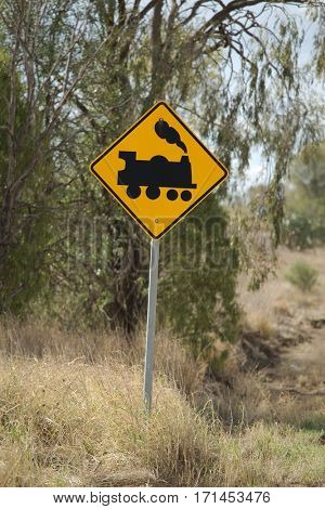 Train warning sign in the middle of nowhere