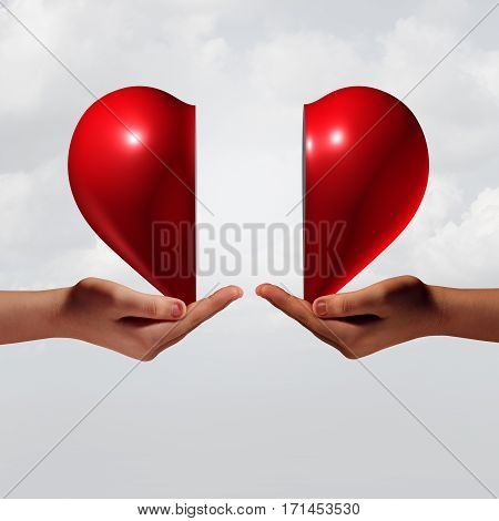 Love connection romance and relationship couple trouble concept as two human hands holding a valentine day heart that is divided as a symbol for emotional attraction or romantic crisis with 3D illustration elements.