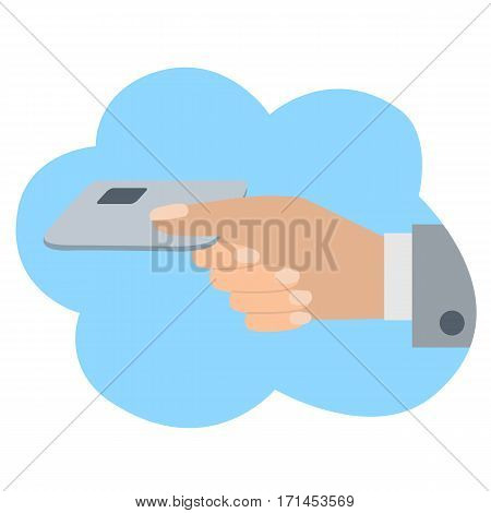 Hand holds credit card. Vector illustration icone in cloud flat design style.