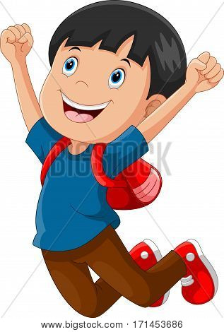 Vector illustration of happy schoolboy cartoon jumping isolated on white background