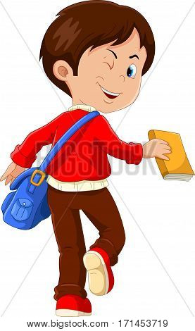 Cute boy with a blue bag and a book in his hands go to school, back view