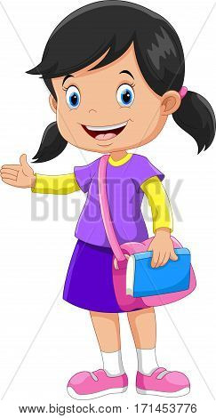 Cute schoolgirl with a pink bag and a book in his hands