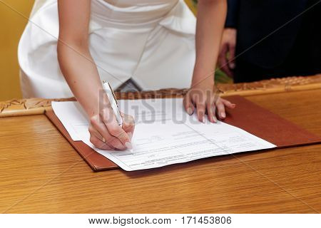 Elegant Gorgeous Bride Signing Register, Holding Pen And Official Document. Unusual Luxury Wedding C