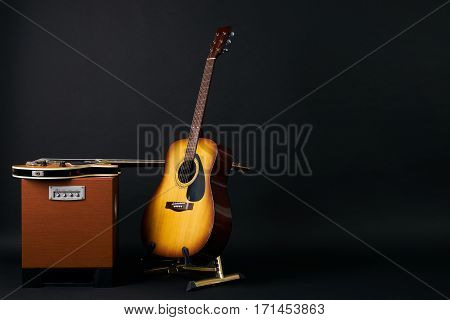 Electric bass guitar and acoustic guitar.Copy space