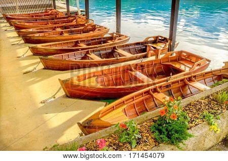 boathouse rowing boats fishing background parking vibrant colors