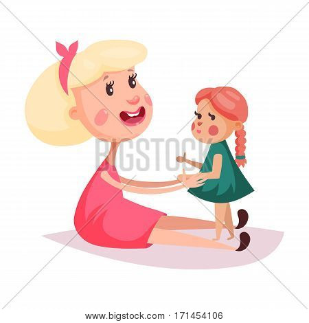 Mother and daughter, cartoon smiling mom playing with child or kid, baby in dress or skirt. Woman or kid near little doll with pigtail hair or bow-knot. Childhood and youth, people character or person