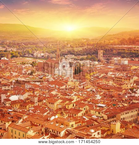 Aerial view of Florence at sunset. Tuscany. Italy.