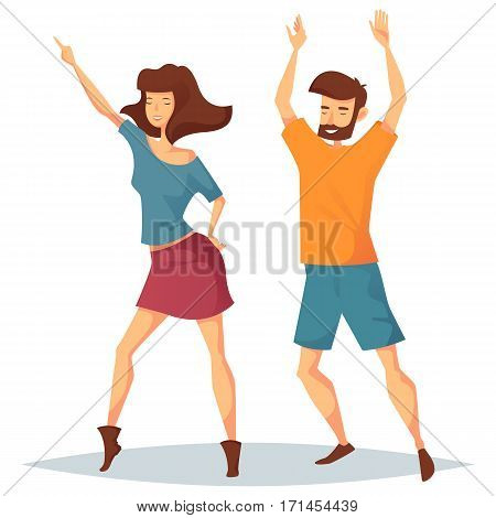 Man dancing with woman at disco. Girl in skirt and male in t-shirt and shorts doing dance moves at discotheque. Nightlife and social event at club, sport dancing and 1980s performance, party theme