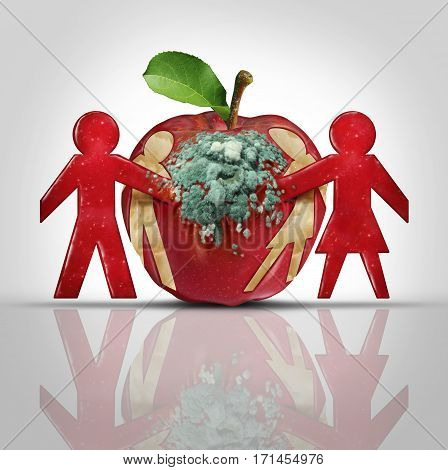 Sex disease and relationship decay as a psychological concept of divorce and separation of a couple in trouble as a decaying rotten apple with a man and woman cut out as a metaphor for sexual illness in a 3D illustration style.