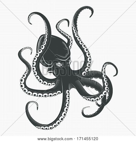 Cartoon octopus with tentacles and suction cups. Aquarium or sea spineless mollusk or octopoda, ocean underwater cuttlefish character. Swimming animal, tattoo or mascot logo, water monster theme
