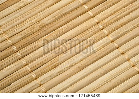 Pattern of natural bamboo.Texture of bamboo napkin background, top view.