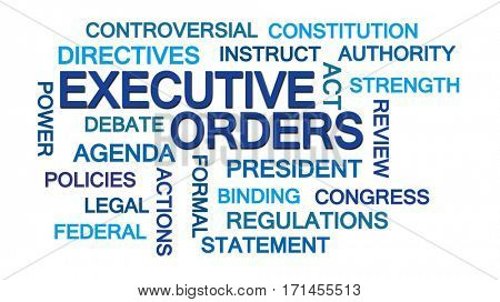 Executive Orders Word Cloud on White Background