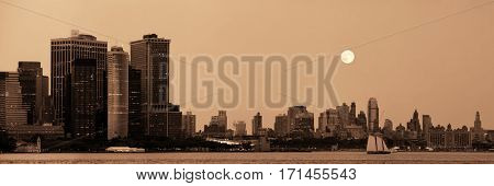 Moonrise over Manhattan downtown and Brooklyn.