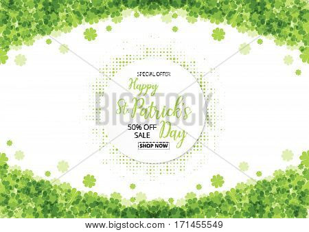 special offer sale text  badge with green  clover leaves footer background, St. Patrick's Day concept
