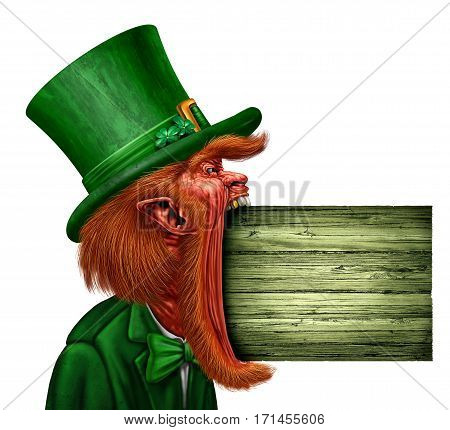 Leprechaun Saint Patrick sign communicating a spring holiday message as an Irish magical elf character in an open mouth side view biting into a blank wooden plank with 3D illustration elements.