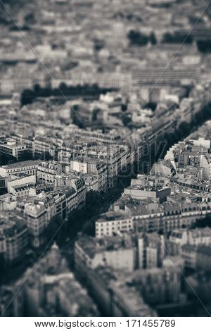 Paris city street rooftop view at sunset tilt-shift effect in black and white.