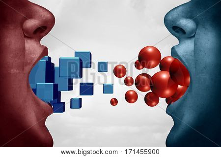 Different opinions and disagreement concept as two people expressing opposite ideas as cubes versus sphere with 3D illustration elements.