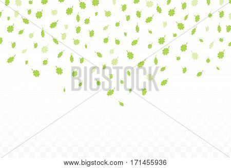 Vector Illustration of a St. Patrick's Day green  clover leaves falling Background