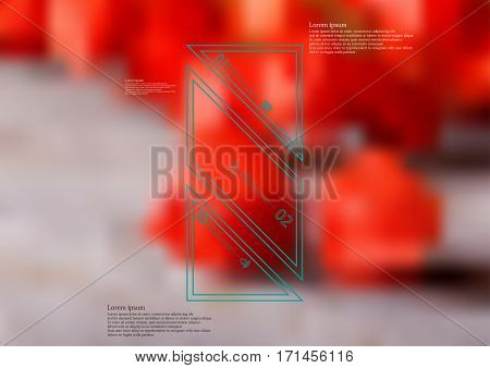 Illustration infographic template with motif of color bar askew divided to three standalone sections created by double outlines. Blurred photo with red blooms is used as background.
