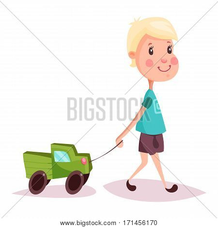 Blonde hair child with toy automobile or auto on rope. Kid or boy, schoolkid with lorry or truck. Cartoon youngster playing with car. Happy childhood and gaming person, little and small people theme