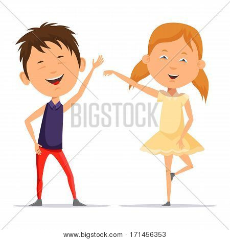 Smiling boy and little girl in skirt dancing or posing. Schoolboy and schoolgirl with pigtails with smiling faces greets people. Dancing cartoon characters and childhood entertainment theme