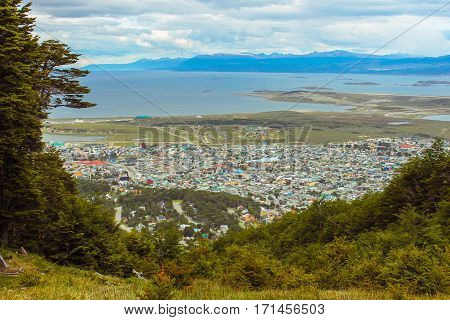City of Ushuaia from the mountains (Argentine patagonia)