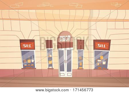 Modern Fashion Shop Big Sale Banner Retial Store Exterior Flat Vector Illustration